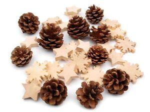 Decoration-de-Noel-Cones-sapin-etoile-FLOCONS-BOIS-table-pour-fenetre