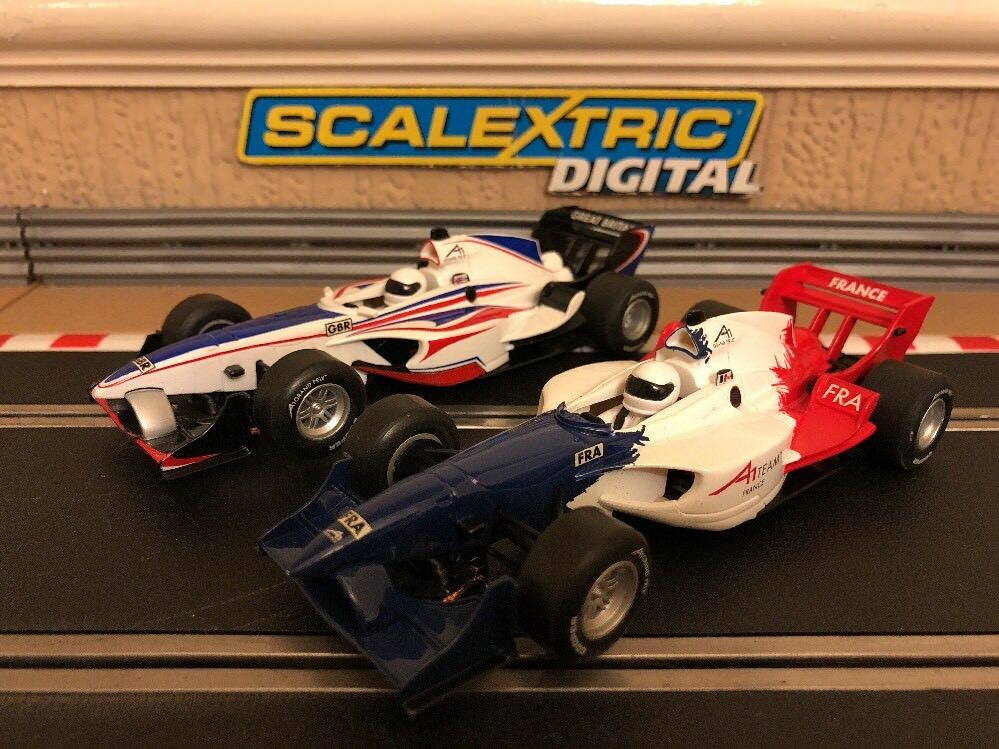 Scalextric Digital A1 Grand Prix Team GB & Team France Rare Set Cars
