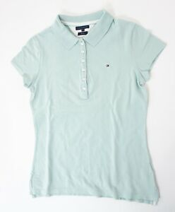 Tommy Hilfiger Slim Fit Poloshirt Damen Gr.M grün uni Knopf Piquè -S1335