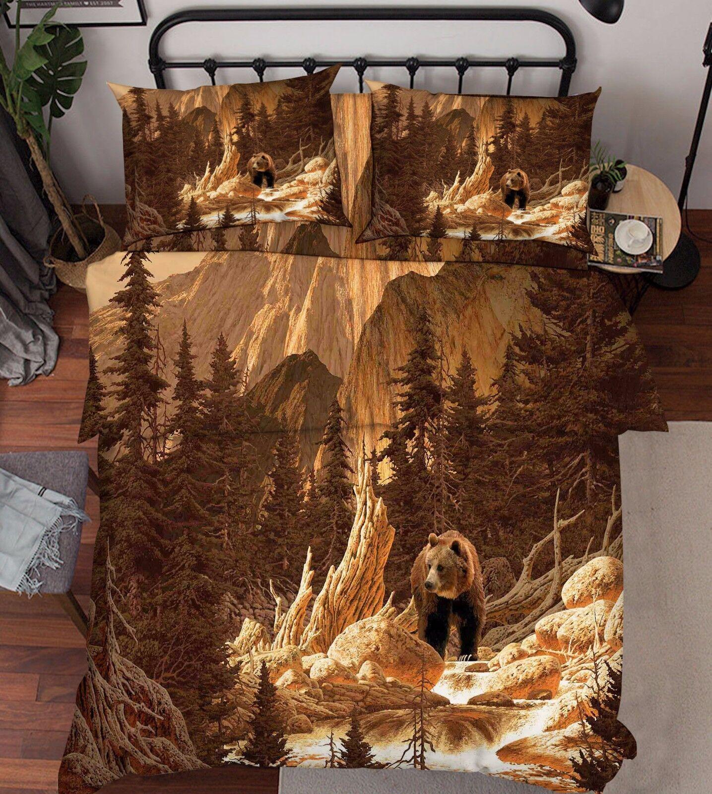 3D Forest Bear 5 Bed Pillowcases Quilt Duvet Cover Set Single Queen King AU