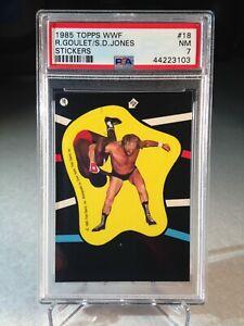 1985-Topps-WWF-Sticker-Rene-Goulet-amp-SD-Jones-18-PSA-7