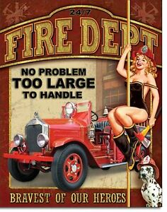 Fire-Department-Dept-Metal-Sign-Tin-New-Vintage-Style-USA-1720