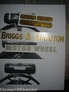 Briggs-amp-Stratton-Motor-Wheel-decals-like-Smith-039-s-Briggs-amp-Stratton-Flyer-1-set
