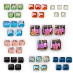 10-Glass-Crystal-Square-Loose-Beads-Jewelry-Bags-Fashion-Making-Bead-Spacer