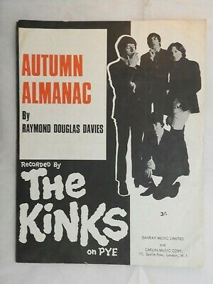 Kinks Single Sheet Music Piano Vocal