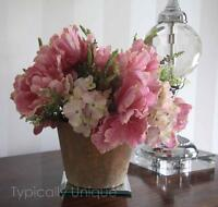 Rustic Artificial Silk Flower Round Arrangement Pink Tulips Hydrangea Planter
