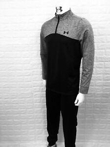 UA-under-armour-men-s-tracksuit-1-4-zip-top-bottoms-slim-arm-leg-black-gry-S-XL