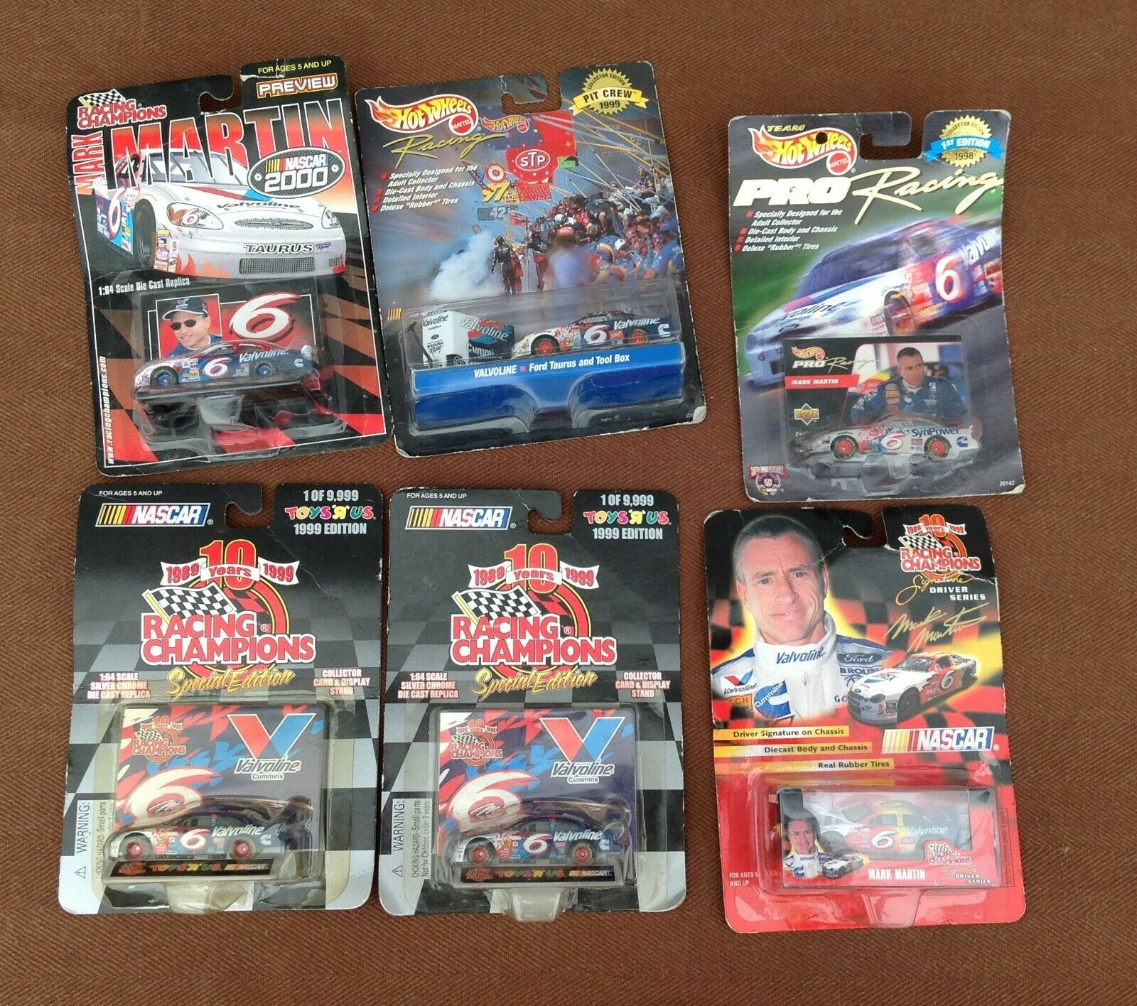 Lot of 6 Racing Champions & Hot Wheels  6 Mark Martin Diecast Race Cars - NIB