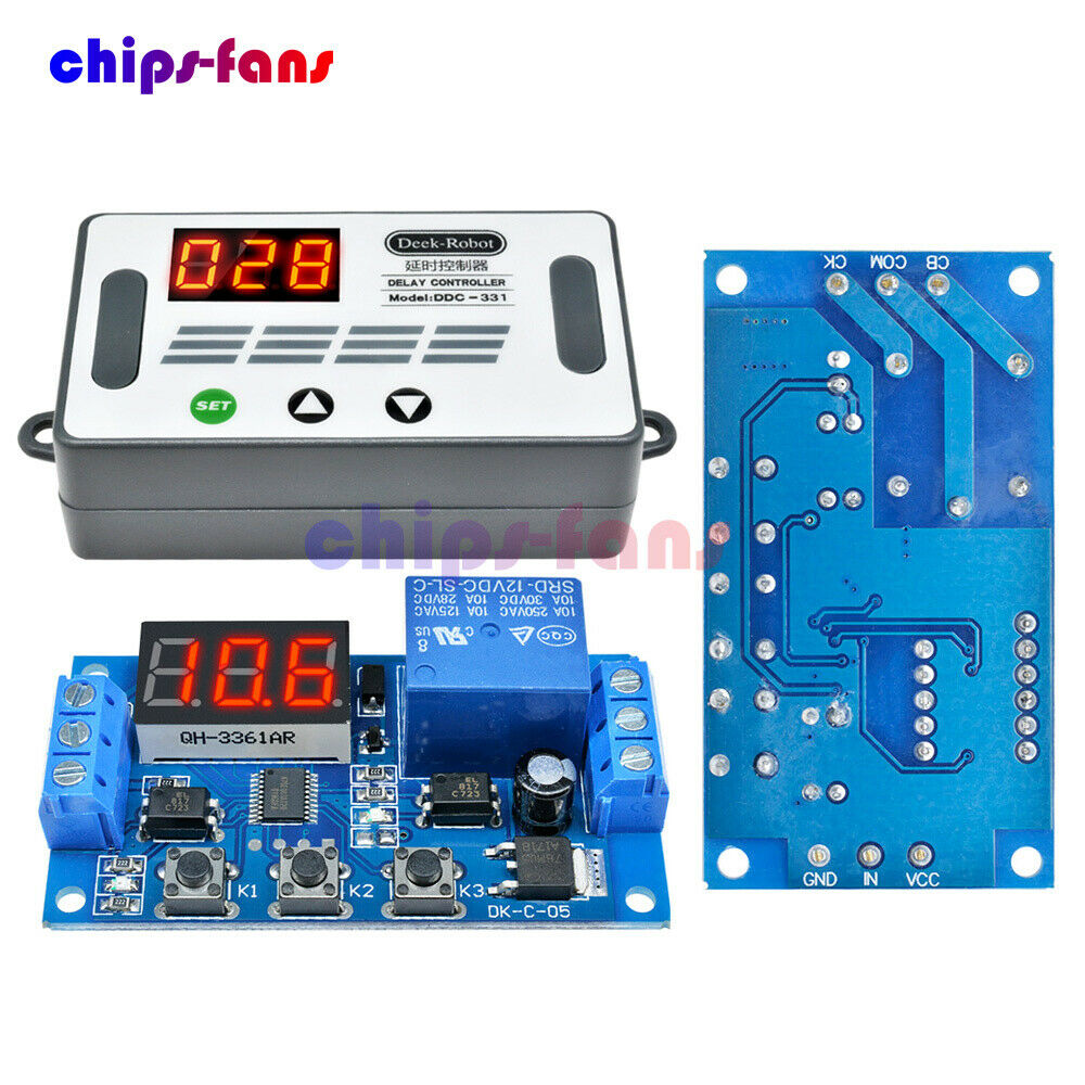 DC 12V Trigger Cycle Timer Delay Relay LED Display Digital Switch Relay W/Case