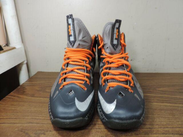 Men's Nike LeBron X 10.5 BHM Black History Month Black Grey Orange 583109 001