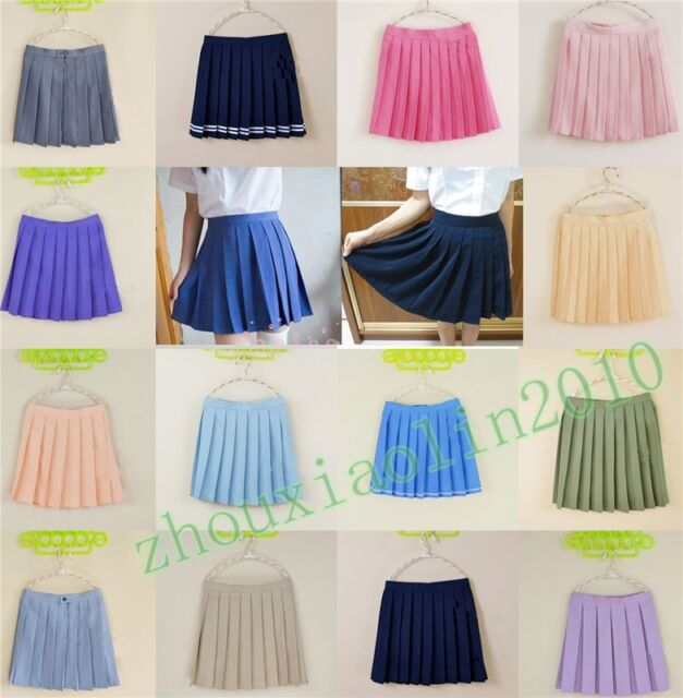 Japanese School Girls Sailor Uniforms Solid Pleated College Cosplay New Skirts