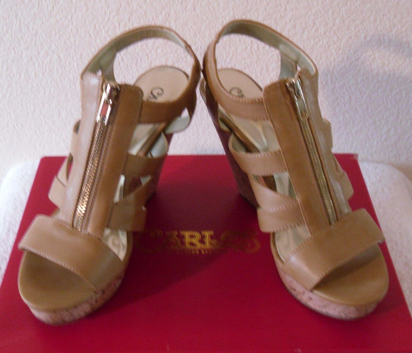 NIB Carlos by Carlos Santana Kaila 9.5 Womens Platform Wedge Sandals 9.5 Kaila Natural $80 3ff727