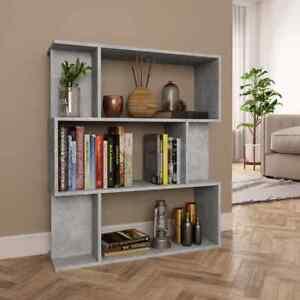 vidaXL-Libreria-Divisorio-Grigio-Cemento-in-Truciolato-Scaffali-Libri-Separe