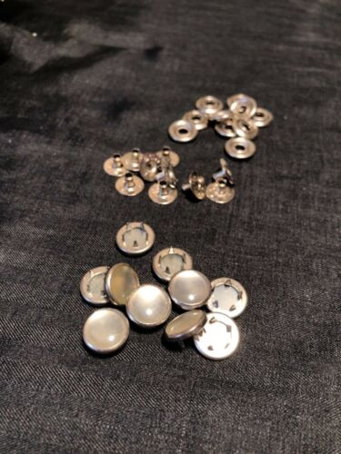 Ginger Snaps Scovill 10 White PEARL SNAP FASTENERS Buttons Western Shirt Crafts