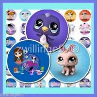 100 Precut Assorted Littlest Pet Shop Bottle Cap Images Variety 1 Inch Discs
