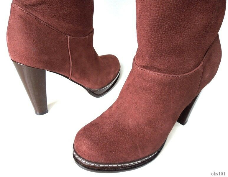 new 478 COLE HAAN Air 'Nola' chestnut brown leather TALL BOOTS - gorgeous