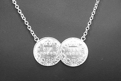 STERLING SILVER DOUBLE LUCKY SIX PENCE COIN PENDANT NECKLACE 2 TWO