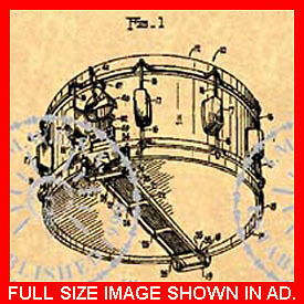 Vintage Thompson 335 Official Rogers Dynasonic Snare Drum US Patent Art Print
