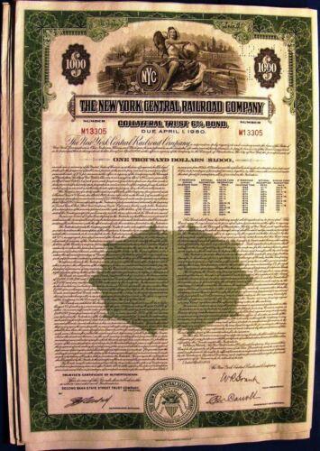 1955 6/% Mortgage $1000 bond New York Central Railroad Company