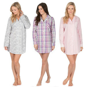 Cottonique Ladies Woven Pure Cotton Long Sleeve Nightshirt