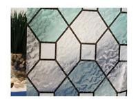 Green Leaded Glass Static Cling Window Film, 36 Wide X 9 Ft