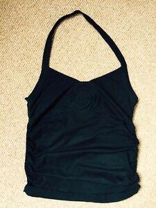 Boutique-Black-Halter-neck-Vest-Top-With-Floral-Motif-Size-Small