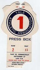 1958 YALE UCONN Connecticut PRESS BOX PASS Ticket Stub NCAA FOOTBALL Bowl CT Ivy