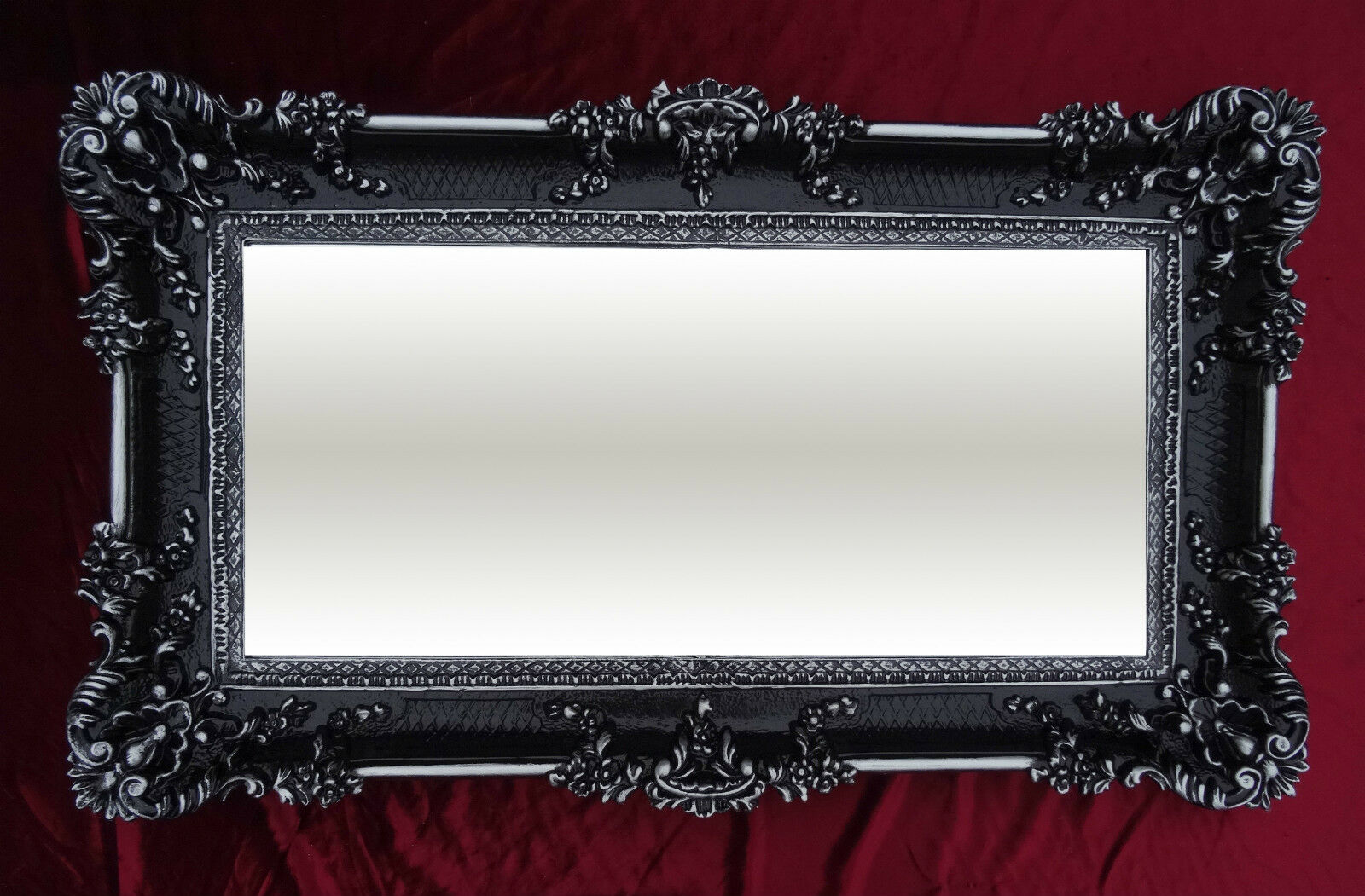 Miroir mural noir argent 96x57 ancien baroque shabby chic - Miroir baroque noir rectangulaire ...