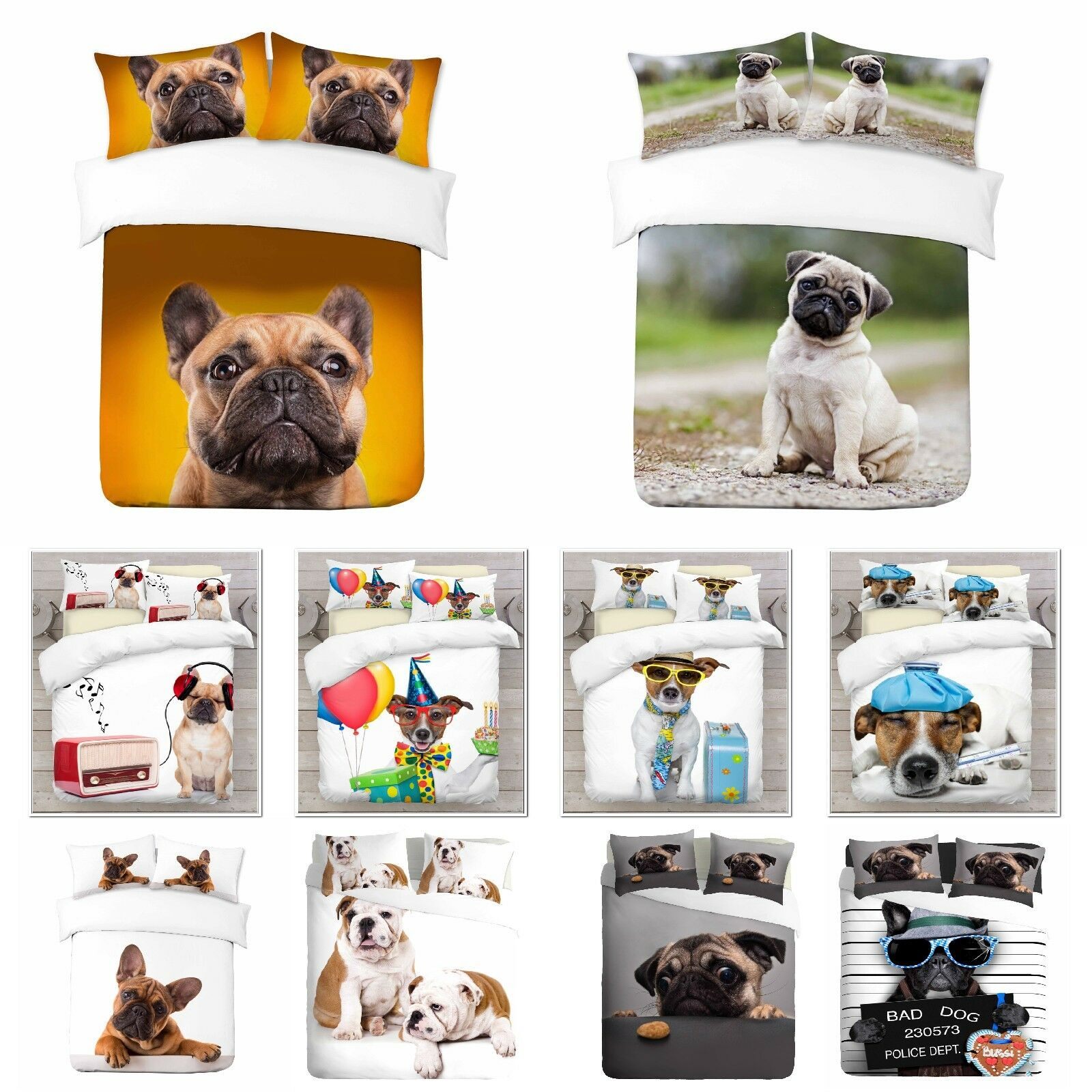 UK Made 3D Dog Design Abstract Photo Digital Duvet Quilt Cover With Pillowcases