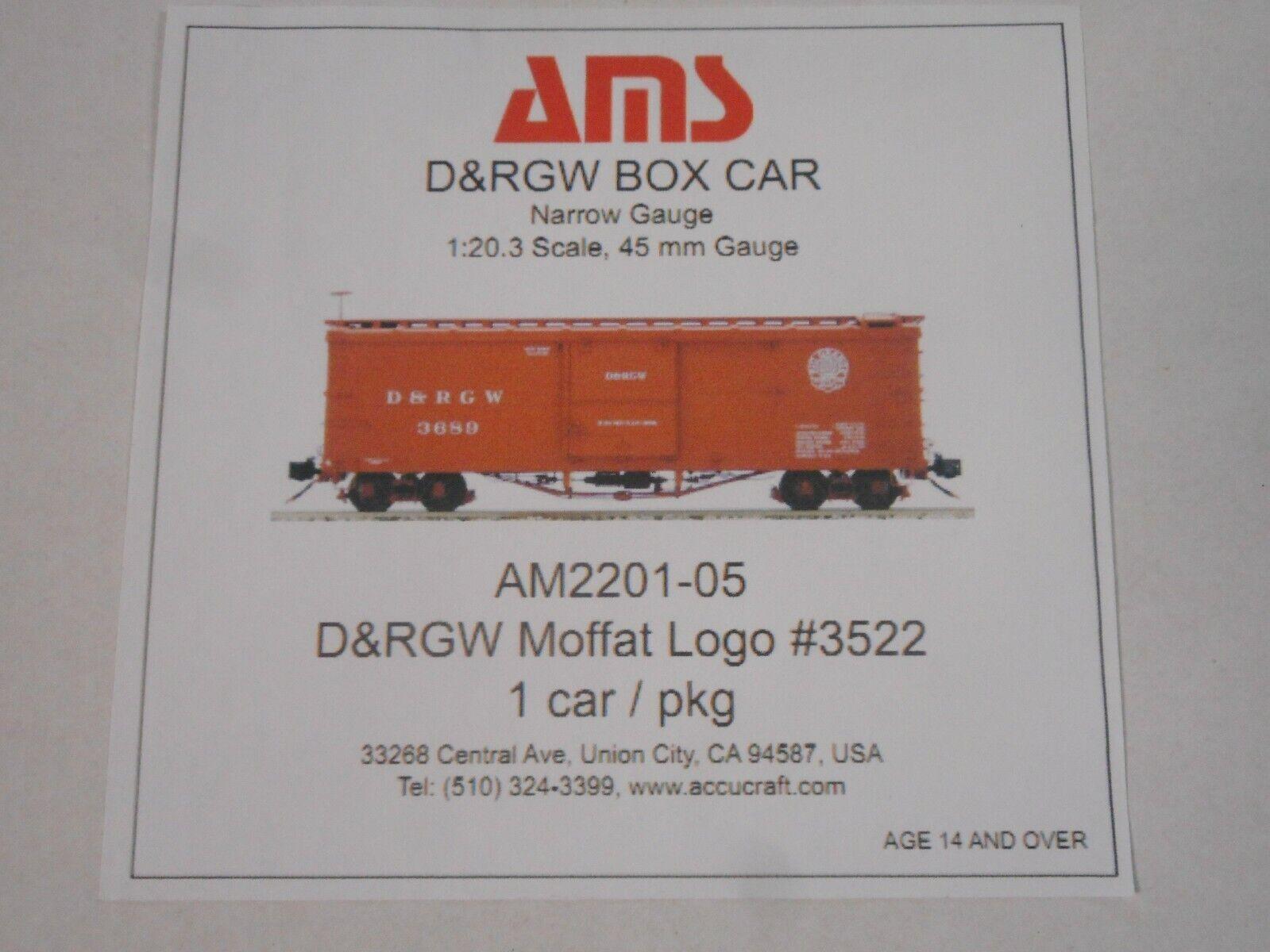 envío gratuito a nivel mundial Accucraft AMS AM2201-05 coche de de de caja-D&RGW Moffat Logo  3522 escala 1 20.3  Envíos y devoluciones gratis.