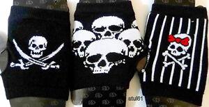 Skull and Crossbones on Stripy Long Ladies Womens Unisex Fingerless Gloves