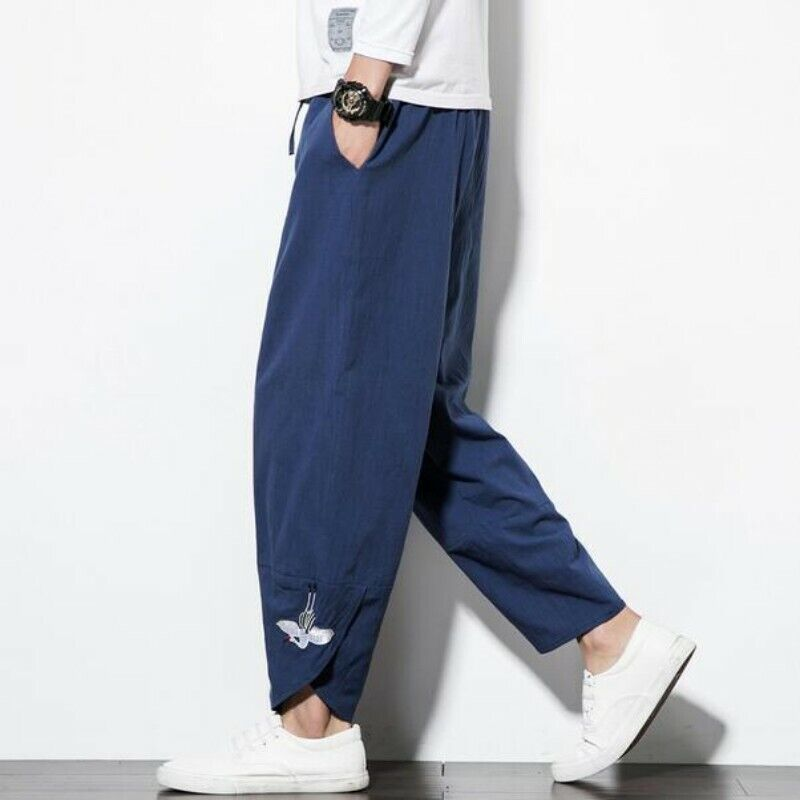 Men Spring Cotton&Linen Animal Embroidery Loose Solid Casual Long Harme Pants Sz