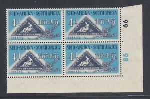 South Africa Sc 194 MLH. 1953 4p Triangular, Corner Block w/ Cylinder Numbers