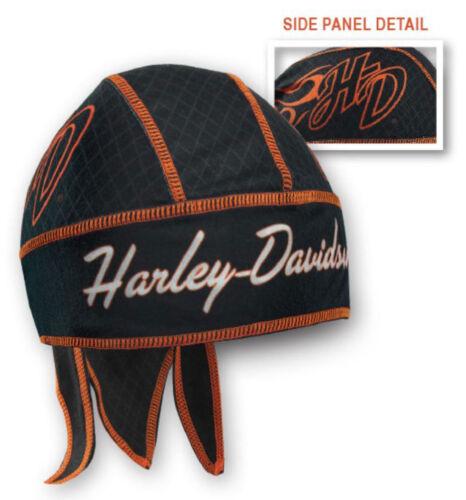 Harley-Davidson® Women/'s Black /& Orange H-D Initials Head-wrap Doo-Rag HW26230