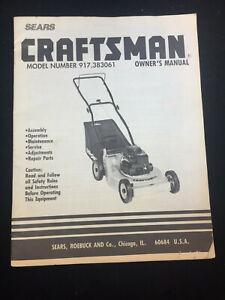Vintage Sears Craftsman Lawn Mower Model 917 383061 Owner