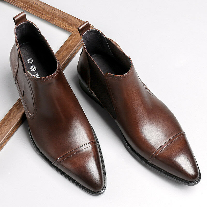 Stylish Mens Genuine Leather Pointed Toe Formal Chelsea Ankle Boots Dress shoes