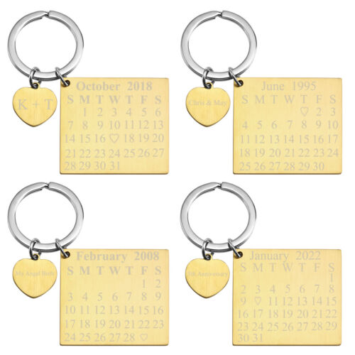 Text Engraved Calendar Heart Keychain Custom Date Ring Birthday Valentine/'s Gift