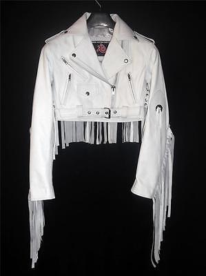 White Fringe Leather Jacket Style LLJ7017