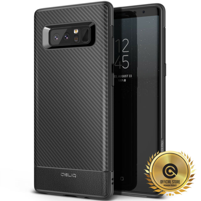 OBLIQ® Galaxy Note 8 case [Flex Pro] Black Carbon TPU Shockproof Slim Cover