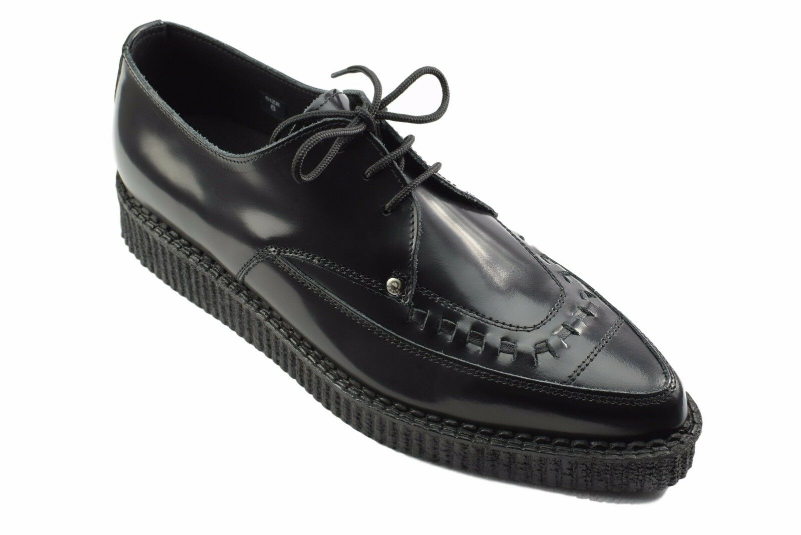 Steel Ground Shoes Black Leather Leather Leather Creepers Lace Up Pointed Sc201Z178 c4ed2e