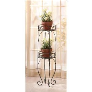 6e6433bfbd23 Rustic Wrought Iron Two-Tier Metal Plant Stand Antique Style Plant ...