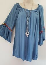 New Italian Lagenlook Top Tunic Blue Bell Sleeves Embroidered Size 14 16 18 20