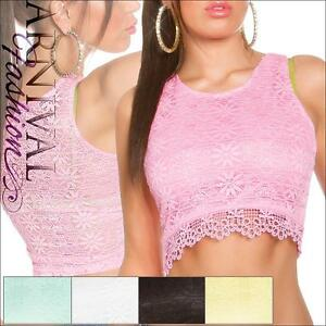 SEXY-SLEEVELESS-CROP-TANK-TOP-S-WOMENS-LACE-SHIRT-CASUAL-FLORAL-summer-blouse-AU