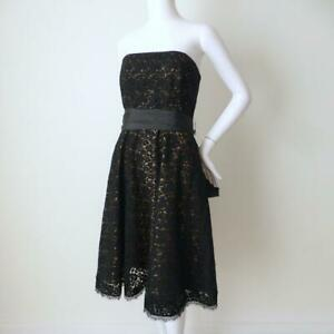 REVIEW Dress Strapless Black Fit and Flare Belted Lace Size 14 Made in Australia