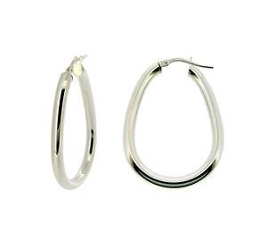 Clearance Sterling Silver Polished Pear Oval Hoop Earrings