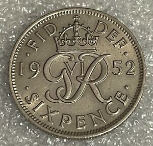 Stunning High Grade - 1952 Great Britain Sixpence - George VI  #236