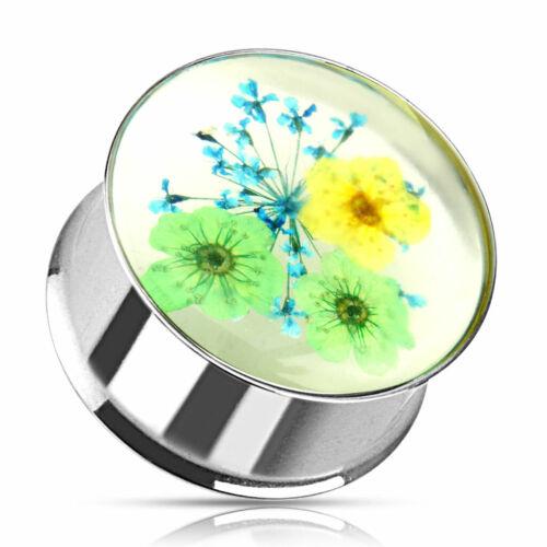 Plug Flower Double Flared Flesh Tunnel Piercing Earring #S Yellow Green Blue
