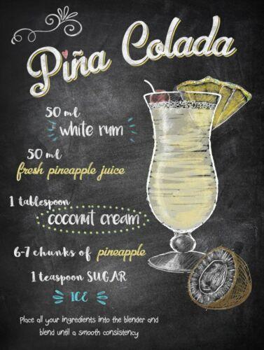 Pina colada 1 Poster métal 15x20cm decoration café bar pub restaurant tiki
