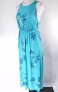Lane-Bryant-Plus-Size-Dress-Blue-Palm-Midi-Tank-Tropical-Print-Sleeveless-14-16
