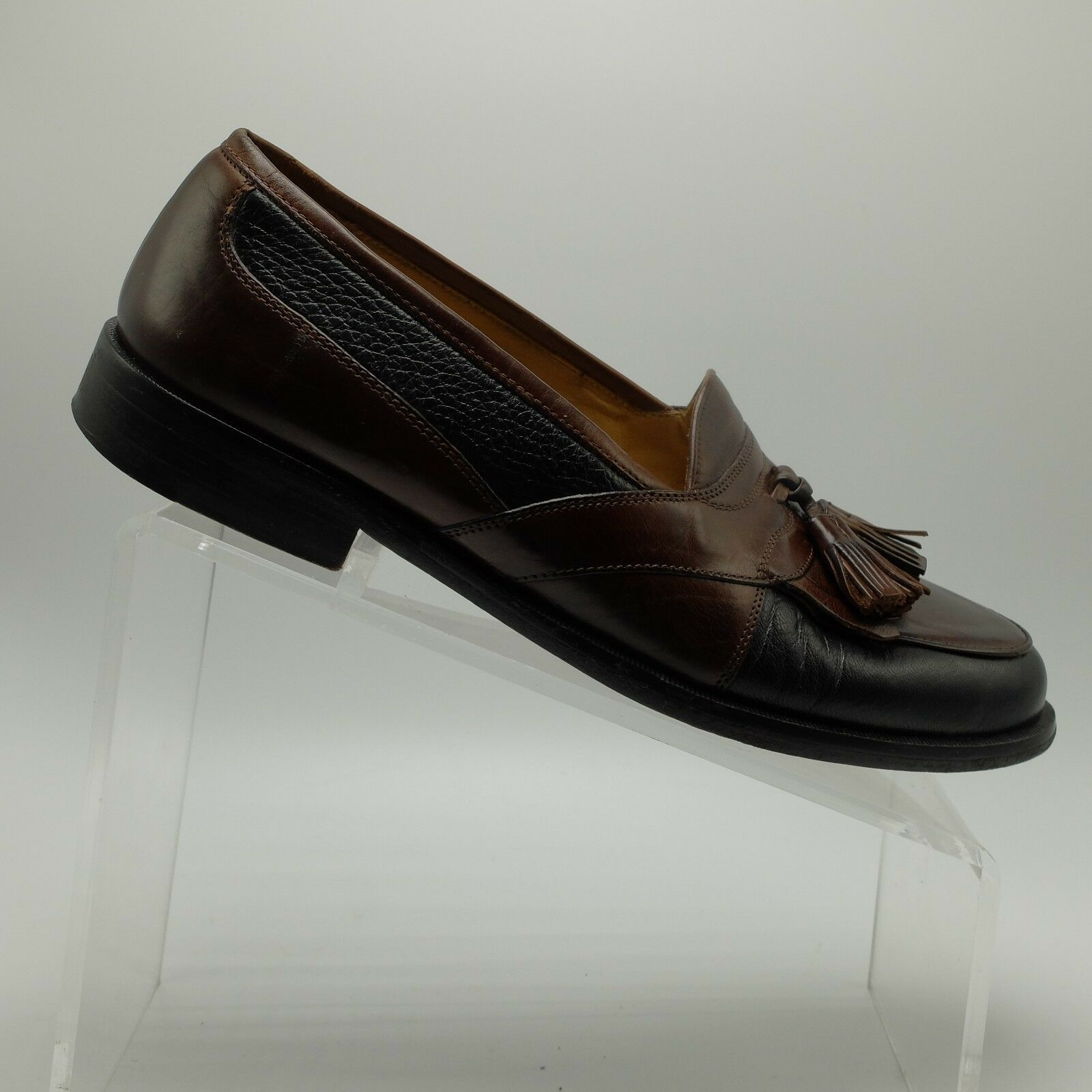Johnston & Murphy Mens Tassel Two-Tone Black Brown Leather Loafer shoes Size 8 D